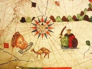 Particolare della carta nautica del Mediterraneo in forma di portolano di Banet Panadès (Palermo, 1556)