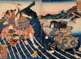 """Hokuei (dittico): """"Combattimento sul tetto di un palazzo"""", fine del 1833"""