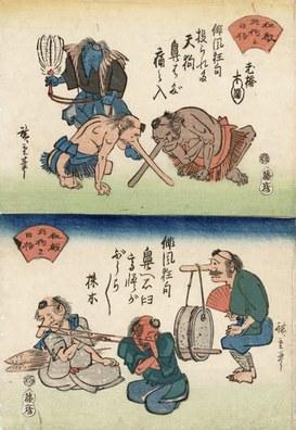 Utagawa Hiroshige: Storie di tengu (creature fantastiche), 1830-1844