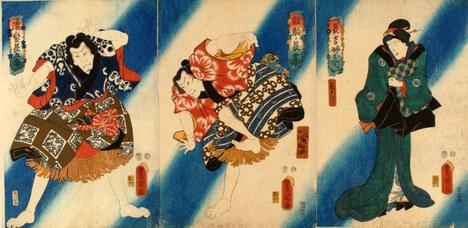 Utagawa Kunisada (trittico): Scena teatrale con sfondo a strisce diagonali, 1854