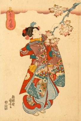 Utagawa Kuniyoshi: Shiki no uchi (Dalla serie delle quattro stagioni: primavera), 1834-1847