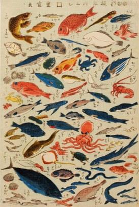 Utagawa Shigenobu: Shinban sakana-zukushi (nuova edizione d'innumerevoli specie di pesci), 1847-1848