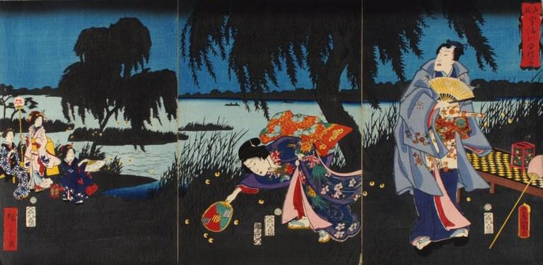 Xilografia giapponese notturno