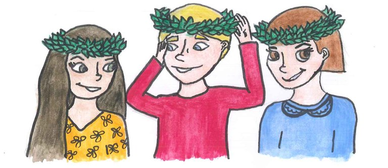 Disegno di bambini con corona d'alloro