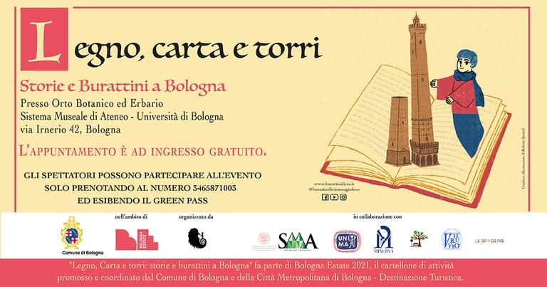 """Locandina spettacolo """"Legno, carta e torri. Storie e burattini a Bologna"""""""