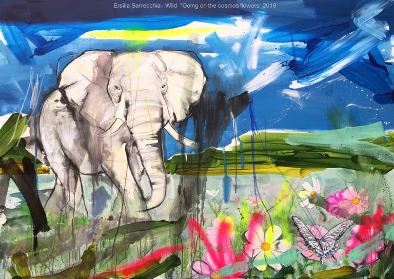 Wild, opera pittorica di Ersilia Caponetti con elefante in mezzo alla natura