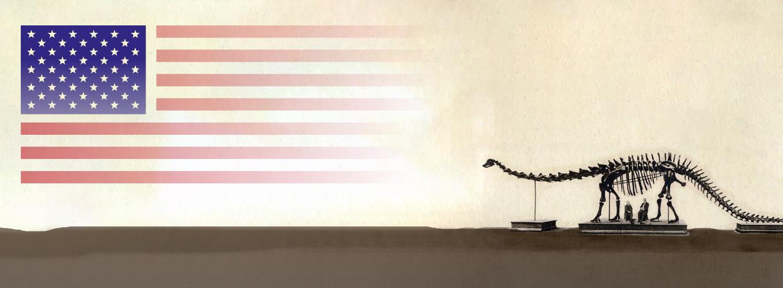 Bandiera americana con scheletro di Diplodoco